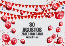 30 augustus, Victory Day Turkish Speak 0 Agustos, Zafer Bayrami Kutlu Olsun Vector illustratie Royalty-vrije Stock Afbeelding