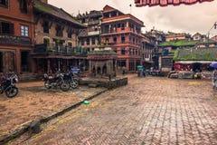 18 augustus, 2014 - Vierkant in Bhaktapur, Nepal Stock Foto