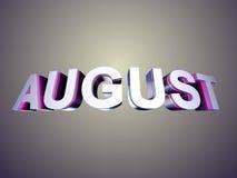 Augustus-woord van schuine rand glanzende brieven Royalty-vrije Stock Afbeeldingen