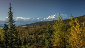 28 AUGUSTUS, 2016 - zet Denali op eerder als Onderstel McKinley, de hoogste bergpiek in Noord-Amerika, bij 20, 310 voet wordt bek Stock Foto