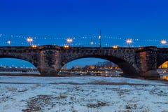 Augustusbrà ¼ cke most Drezdeński obraz royalty free