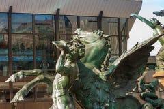 Augustusplatz stad av Leipzig Fotografering för Bildbyråer