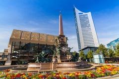 Augustusplatz, Stad van Leipzig Stock Foto's