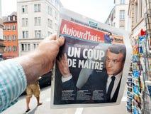 Aujord `-hui FN direktstöt de maitre Emmanuel Macron Royaltyfri Foto