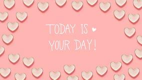 Aujourd'hui est votre message de jour avec beaucoup de plats de coeur illustration de vecteur