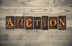 Aukcyjny Drewniany Letterpress temat Zdjęcia Stock