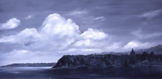Auke Bay Alaska. Original Oil Painting of Auke Bay In Alaska stock photos