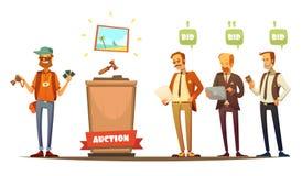 Auktions-Teilnehmer-Retro- Karikatur-Personen eingestellt lizenzfreie abbildung