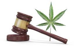 Auktionsklubba och marijuana som isoleras på vit vektor illustrationer