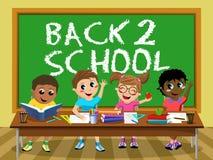 Aula felice dei bambini dei bambini della lavagna posteriore della scuola royalty illustrazione gratis