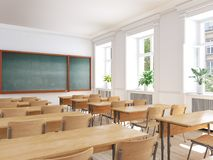 Aula vuota della scuola rappresentazione 3d Immagini Stock Libere da Diritti