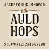 Auld hops alphabet vector font. Distressed letters and numbers. Stock Photos