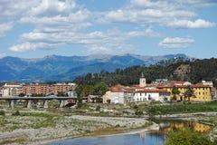 Aulla town, Lunigiana, Italy. Mountain view. Royalty Free Stock Image