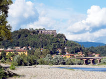 Aulla - view of town from river, with Brunella fortress in bacgr Stock Images