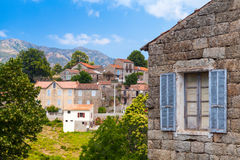 Aullene village, Corsica, France. Street view Royalty Free Stock Images