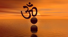 Aum and landscape Royalty Free Stock Photo