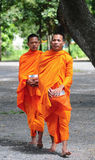 Aumône de marche de matin de jeunes moines asiatiques photo libre de droits