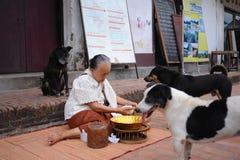 Aumône donnant la cérémonie dans Luang Prabang, Laos photo libre de droits