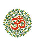 Aum no halo das folhas mandala Símbolo espiritual Imagens de Stock