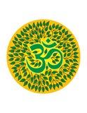 Aum no halo das folhas mandala Símbolo espiritual Foto de Stock