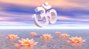 Aum - om upon lotus. Metallic aum - om upon quiet ocean and several beautiful pink lotus flowers by sunset with pink clouds