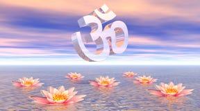 Aum - om op lotusbloem Royalty-vrije Stock Foto's