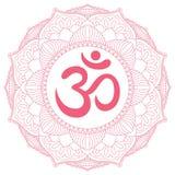Aum Om symbol w dekoracyjnym round mandala ornamencie Obrazy Stock