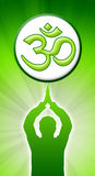 Aum Prayer Green. Meditating man with om sign royalty free illustration