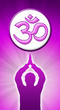 Aum Prayer purple pink. Meditating man with om sign royalty free illustration