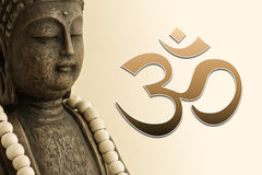 Aum Shanti Buddha. Golden brown Buddha head on white background royalty free stock images