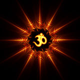 AUM symbol. AUM or OM symbol with flame fractal abstraction Royalty Free Stock Photo