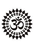 Aum symbol in the halo. Mandala. Spiritual Symbol. Vector drawing. Black and white. Eastern religions Stock Photo