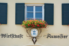 Aumeister Beer Garden with Geraniums Stock Images
