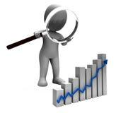 Aumentação crescente da renda do lucro das mostras do caráter do gráfico Foto de Stock Royalty Free