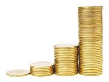 Aumenta acima o gráfico da moeda Fotografia de Stock