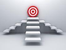 Aumenta al concetto di affari dell'obiettivo di scopo sopra la parete bianca Immagini Stock Libere da Diritti