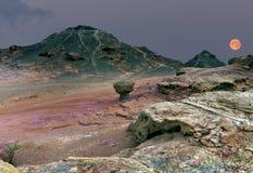 Aumentando della super-luna nel parco geologico di Timna Fotografie Stock Libere da Diritti