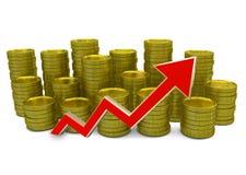 Aumentar custa - gráfico da finança 3D - a moeda e a seta verde Fotos de Stock