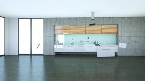 Aumentar el diseño interior 3d de la cocina moderna libre illustration