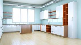 Aumentar el diseño interior 3d de la cocina moderna