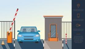 Aumentare automatico sulla barriera, portone del sistema automatico per sicurezza ed automobile blu illustrazione vettoriale