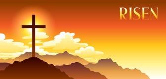 aumentato Illustrazione di Pasqua Cartolina d'auguri con l'incrocio e le nuvole illustrazione vettoriale