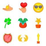 Aumente os ícones ajustados, estilo dos desenhos animados Foto de Stock