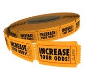 Aumente seus bilhetes que da rifa das probabilidades o rolo melhora o vencimento das possibilidades Foto de Stock