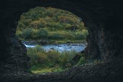 Aumento alla bella cascata Glymur Fotografia Stock Libera da Diritti