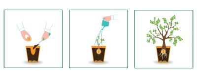 Aumento de beneficios financiero de Infographics Dinero de proceso del crecimiento Arranque de negocio Ganancia, inversión Diseño Fotografía de archivo libre de regalías