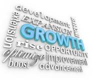 Aumento de levantamiento cada vez mayor del collage del fondo de la palabra del crecimiento 3d libre illustration