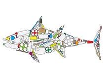 Aumento del atún de la basura plástica ilustración del vector
