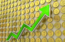 Aumento del dollaro Fotografie Stock Libere da Diritti