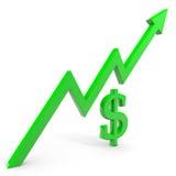 Aumento del gráfico del dólar. Fotos de archivo